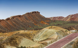 Color Geopark. Danxia geological park is located in zhangye in gansu province in China, when in the morning or in the evening when the sun on the rock, bright Stock Photo