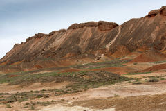 Color Geopark. Danxia geological park is located in zhangye in gansu province in China, when in the morning or in the evening when the sun on the rock, bright Stock Image