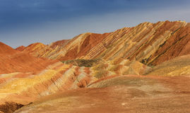 Color Geopark. Danxia geological park is located in zhangye in gansu province in China, when in the morning or in the evening when the sun on the rock, bright Royalty Free Stock Photo