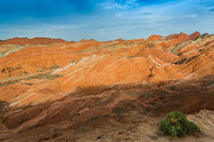 Color Geopark. Danxia geological park is located in zhangye in gansu province in China, when in the morning or in the evening when the sun on the rock, bright Royalty Free Stock Photography