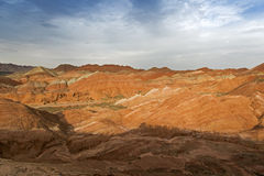 Color Geopark. Danxia geological park is located in zhangye in gansu province in China, when in the morning or in the evening when the sun on the rock, bright Royalty Free Stock Photos
