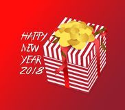 Color  gift box, bows and ribbons .Hand drawn calligraphy lettering .Happy new year Stock Image