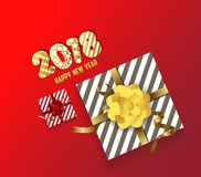 Color  gift box, bows and ribbons .Happy new year Stock Images
