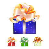 Color gift boxes with bows and ribbons Royalty Free Stock Photography