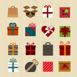 Color gift boxes icons collection Stock Photos
