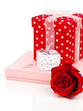 Color gift boxes Stock Photos