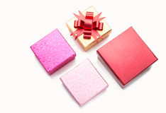 Color gift boxes on white Stock Photos