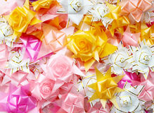 Color of gift ribbons and flowers Stock Image