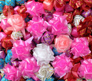 Color of gift ribbons and flowers Stock Images
