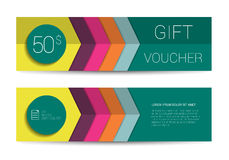 Color gift voucher template. Simply flat modern design. Stock Photo