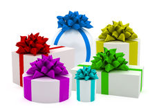 Color gifts with color ribbons Royalty Free Stock Photos