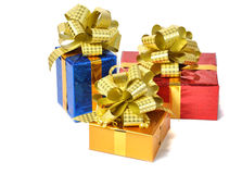 Color gifts isolated over white Royalty Free Stock Photography