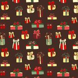 Color gifts seamless pattern on brown background Stock Photography