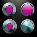 Color glass buttons set with metal borders Stock Images