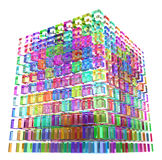 Color Glass Cube. Abstract 3d cube made of many smaller colored ones Royalty Free Stock Images