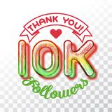 Thank you 10k followers. Color Glass digits template of thankfulness to followers on transparent background. Suitable for any social channels. Vector Vector Illustration