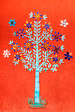 Color Glass Mosaic Tree. On Wall of Buddhist Church, Laos Royalty Free Stock Photography