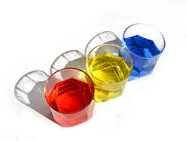 Color Glasses....(1). Here are three glasses of different colours wich represent the Romanian Flag Stock Photos