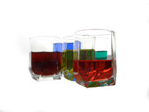 Color Glasses......(8). Here are some glasses with colour water in them Stock Images