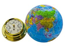 Color globe and barometer isolated on white Stock Photo