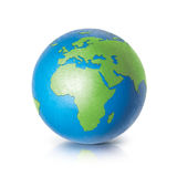 Color globe 3D illustration europe and africa map. On white background Stock Photo
