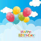 Color Glossy Balloons Against Blu Sky Background Royalty Free Stock Photo