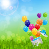 Color Glossy Balloons Birthday Card  Background Vector Illustrat Stock Photography