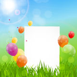 Color Glossy Balloons Birthday Card  Background Vector Illustrat Royalty Free Stock Photo