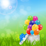 Color Glossy Balloons Birthday Card  Background Vector Illustrat Stock Photo