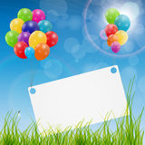 Color glossy balloons birthday card background Royalty Free Stock Photo