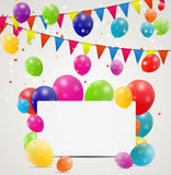 Color glossy balloons birthday card background Stock Photos