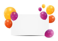 Color glossy balloons birthday card background Royalty Free Stock Image