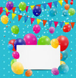 Color glossy balloons birthday card background Royalty Free Stock Images