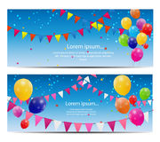 Color glossy balloons card background vector Stock Images