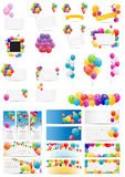 Color Glossy Balloons Card Mega Set Vector. Illustration EPS10 Royalty Free Stock Image