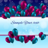 Color Glossy Balloons Card Vector Illustration Royalty Free Stock Images