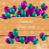 Color Glossy Balloons Card Vector Illustration. Party Royalty Free Stock Image