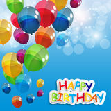 Color Glossy Balloons Happy Birthday Background Stock Image
