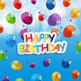 Color Glossy Balloons Happy Birthday Background Stock Photos