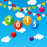 Color Glossy Balloons 2015 New Year Background Royalty Free Stock Photography