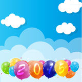 Color Glossy Balloons 2015 New Year Background. Vector Illustration. EPS10 stock illustration
