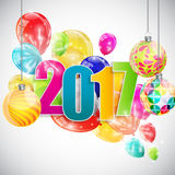 Color Glossy Balloons 2017 New Year  Stock Photography