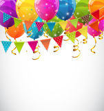 Color Glossy Balloons and Party Flags Background Vector Illustra. Tion EPS10 Stock Photography
