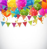 Color Glossy Balloons and Party Flags Background Vector Illustra. Tion EPS10 Royalty Free Stock Image
