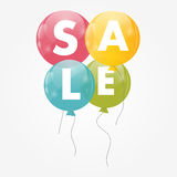 Color Glossy Balloons Sale Concept of Discount. Royalty Free Stock Image