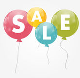 Color Glossy Balloons Sale Concept of Discount. Royalty Free Stock Images