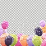 Color Glossy Balloons Transparent Background Vector Illustration. EPS10 Stock Photo