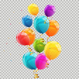 Color Glossy Balloons Transparent Background Vector Illustration. EPS10 Stock Photography
