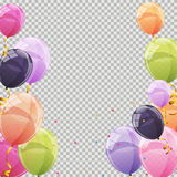 Color Glossy Balloons Transparent Background Vector Illustration. EPS10 Stock Photos