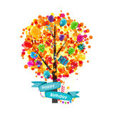 Color Glossy Balloons Tree Background. Happy Birthday Concept.. Vector Illustration EPS10 Royalty Free Stock Images